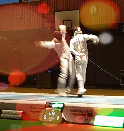Veterans fencing bout